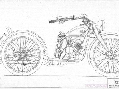 Трехколесный мотоцикл К1В. Чертежи узлов и деталей.
